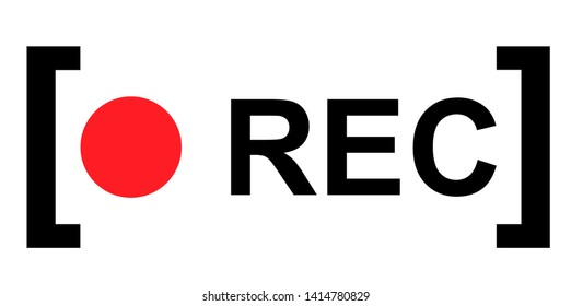 Recording sign, red panel, rec, vector symbol isolated on white background .