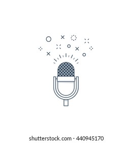 Recording studio, broadcasting and podcasting concept, advertising, stage performance microphone