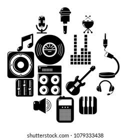 Recording studio symbols icons set. Simple illustration of 16 recording studio symbols vector icons for web