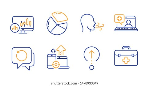 Recovery data, Seo devices and Medical help line icons set. Breathing exercise, Pie chart and Swipe up signs. Candlestick chart, First aid symbols. Backup info, Mobile stats. Science set. Vector