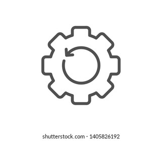 Recovery gear line icon. Backup data sign. Restore information symbol. Quality design element. Linear style recovery gear icon. Editable stroke. Vector