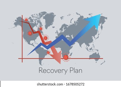 Recovery Plan from COVID-19 impact. Downward red arrow follow by upward blue arrow. Building back the economy business industries.