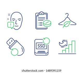 Recovery ssd, Flash memory and Medical prescription line icons set. Slow fashion, Face attention and Growth chart signs. Backup info, Recovery usb, Medicine drugs. Eco tested. Science set. Vector