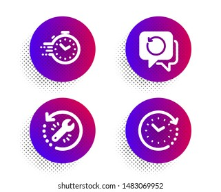 Recovery tool, Recovery data and Timer icons simple set. Halftone dots button. Time change sign. Backup info, Deadline management, Clock. Education set. Classic flat recovery tool icon. Vector