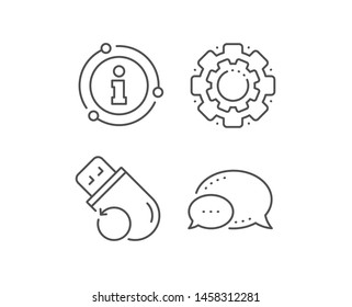 Recovery usb memory line icon. Chat bubble, info sign elements. Backup data sign. Restore information symbol. Linear flash memory outline icon. Information bubble. Vector