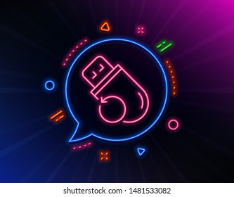 Recovery usb memory line icon. Neon laser lights. Backup data sign. Restore information symbol. Glow laser speech bubble. Neon lights chat bubble. Banner badge with flash memory icon. Vector