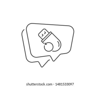 Recovery usb memory line icon. Chat bubble design. Backup data sign. Restore information symbol. Outline concept. Thin line flash memory icon. Vector