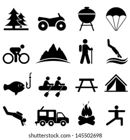 Recreation and camping icon set