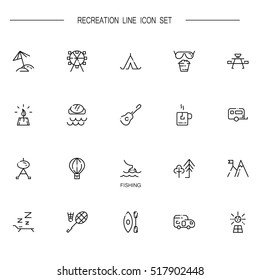 Recreation flat icon set. Collection of high quality outline symbols of sports and tourism for web design, mobile app. Vector thin line icons or logo of forest, fishing, beach, sea, etc.