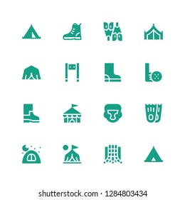 recreation icon set. Collection of 16 filled recreation icons included Tent, Slide, Camp, Camping, Flippers, Boxing helmet, Circus, Boots, Golf, Boot, Metal detector, Flipper