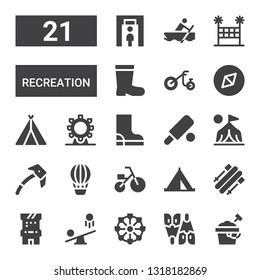 recreation icon set. Collection of 21 filled recreation icons included Sand bucket, Flipper, Ferris wheel, Seesaw, Arcade game, Skii, Tent, Tricycle, Hot air balloon, Ice axe