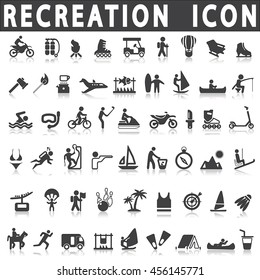 Recreation icons on a white background with a shadow