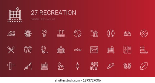 recreation icons set. Collection of recreation with shoe, flippers, punching ball, bowling, volley, fishing rod, hopscotch, basketball. Editable and scalable recreation icons.