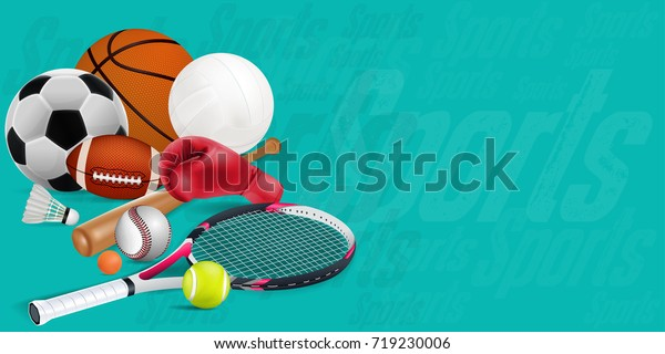 Recreation leisure sports equipment with a football basketball baseball soccer tennis ball volleyball boxing gloves and badminton as a symbol of healthy on green background. vector and illustration.