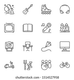 Recreation lifestyle line icons set. linear style symbols collection, outline signs pack. vector graphics. Set includes icons as party balloons, guitar, music microphone, caravan trailer, fitness