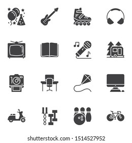 Recreation lifestyle vector icons set, modern solid symbol collection, filled style pictogram pack. Signs, logo illustration. Set includes icons as party balloons, guitar, music microphone, fitness