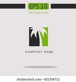 Recreation logo.palm icon vector.resort logo