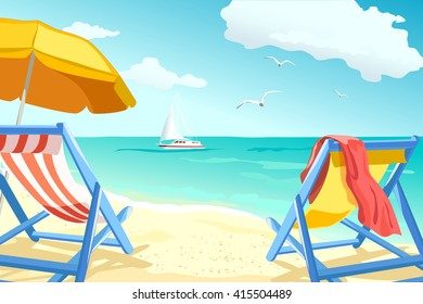 recreation, relaxing on the beach, loungers for couples. vector illustration