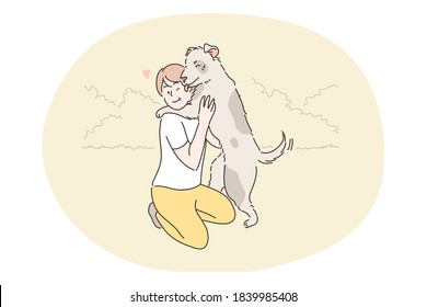 Recreation, resting, play, pet, embrace, friendship, love, devotion, childhood concept. Boy child kid hugging happy dog domestic animal in public park outside. Summertime leisure activity illustration