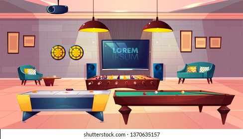 Recreation room for leisure in house basement with soft armchair and sofa, darts and TV on wall, projector on ceiling, ho key, billiard and football, soccer tabletop games. Cartoon vector illustration