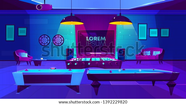 Recreation room for leisure interior in house basement at night with light, darts, TV on wall, projector on ceiling, hockey, billiard and football, soccer tabletop games. Cartoon vector illustration