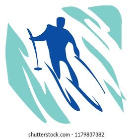 Recreation, sports, activity. Slalom, a man on skis. Pictogram.