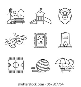 Recreation, tourism and sport buildings signs set. For use with maps and internet services interfaces. Thin line art icons. Linear style illustrations isolated on white.