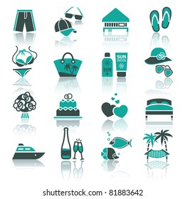 Recreation, Vacation & Travel. icons set. Tourism, Sport with reflection.