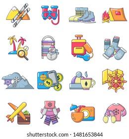 Recreational activity icons set. Cartoon set of 16 recreational activity vector icons for web isolated on white background