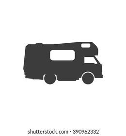 Recreational motor home vehicle. Camping trailer family caravan. Motorhome trailer car.  Rv mobile home truck. Traveler truck vector icon.
