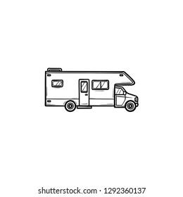 Recreational vehicle hand drawn outline doodle icon. Motorhome and rv, camper and caravan, tranvel concept. Vector sketch illustration for print, web, mobile and infographics on white background.