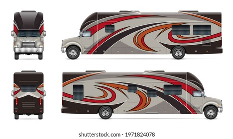 Recreational vehicle vector mockup on white for vehicle branding, corporate identity. View from side, front, back. All elements in the groups on separate layers for easy editing and recolor. - Shutterstock ID 1971824078