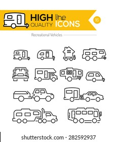 Recreational Vehicles line icons