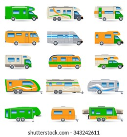 Recreational vehicles vans and caravans decorative icons set isolated vector illustration