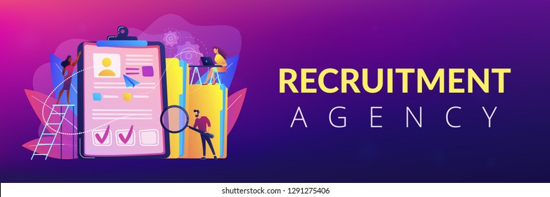 Recruiters and managers searching for candidate in huge CV for position. Recruitment agency, human resources service, recruitment network concept. Header or footer banner template with copy space.