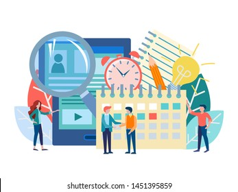 Recruiting concept vector illustration. Office staff selects employees, conducts interviews, assigns interview dates, filling out questionnaires online for employment. hr-management