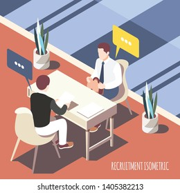 Recruiting  interview isometric background with applicant and employer looking into resume sheet vector illustration