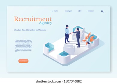 Recruiting office isometric vector illustration. Company personnel, workers 3D cartoon characters. Head hunting, human resources department. Recruiter hires new employee, Agents search for candidates