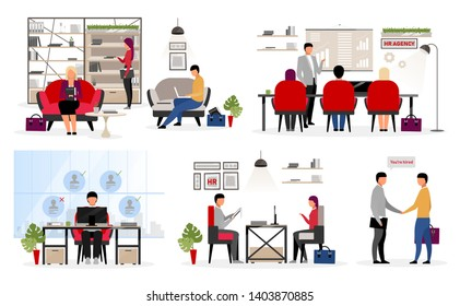 Recruiting staff flat vector characters set. Employment service. Applying for new job. HR agency workers interviewing candidates, applicants. Headhunters, experts hiring personnel, jobseekers