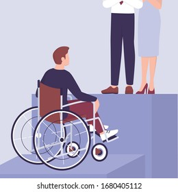 Recruitment ableism concept. Young disabled businessman can't climb a career ladder. Discrimination and social prejudice against people with disabilities. Isolated vector illustration in cartoon style
