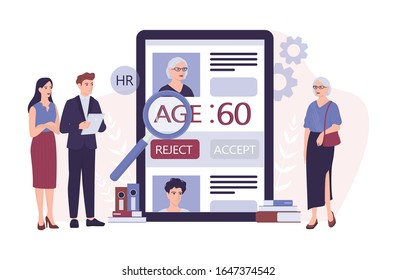 Recruitment ageism concept. HR specialist reject an old woman cv. Unfairness and employment problem of seniors. Human resources department don't hire people aged 50. Isolated vector illustration