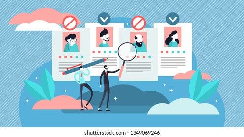 Recruitment ageism vector illustration. Tiny old persons segregation concept. Unfair economical employment problem with seniors career rejection. Human resources avoid work offer to aged society part.