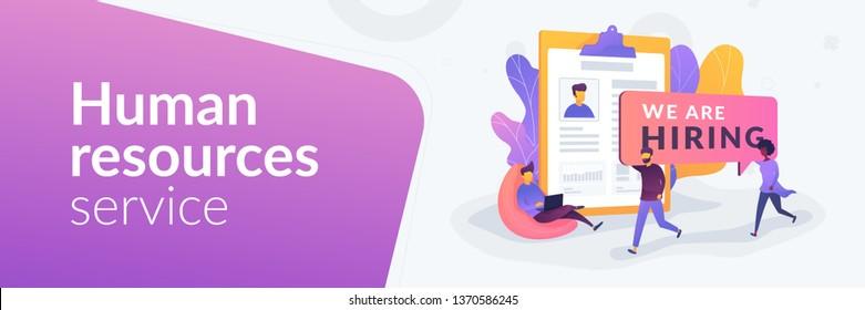 Recruitment agency, human resources service, recruitment network concept.Vector banner template for social media with text copy space and infographic concept illustration.