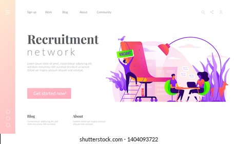 Recruitment agency, human resources service, recruitment network and candidate interview concept. Website homepage interface UI template. Landing web page with infographic concept hero header image.