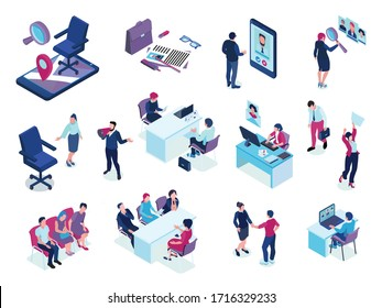 Recruitment agency isometric set with online job vacancies screening applicants choosing candidates interview selection events vector illustration
