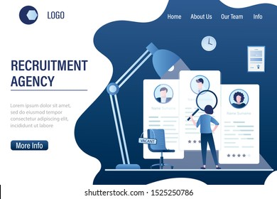 Recruitment agency landing page template. Job interview, employment process, choosing a candidate concept. Businesswoman HR specialist uses a magnifying glass. Cv resume and vacant chair. Vector