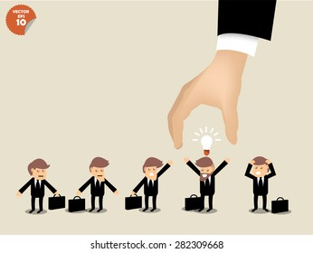 recruitment concept, business man choosing worker who has idea from group of business people.