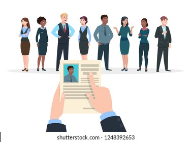 Recruitment concept. Business people candidates interview. Businessman holds cv resume. Employment and career vector background