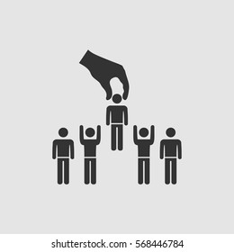 Recruitment concept icon flat. Black pictogram on grey background. Vector illustration symbol