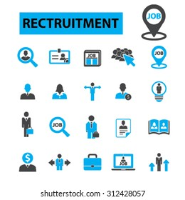 Recruitment concept icons: hiring, human resources, career, interview, resume, employment, job, portfolio, contract, work, position, teamwork, ceo, manager, employee. Vector illustration set